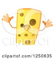 Clipart Of A 3d Cheese Wedge Character Jumping Royalty Free Illustration