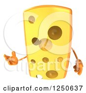 Clipart Of A 3d Cheese Wedge Character Presenting Royalty Free Illustration