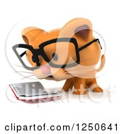 Clipart Of A 3d Bespectacled Ginger Cat Reading A Book 2 Royalty Free Illustration