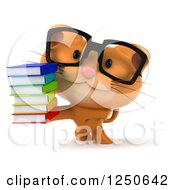 Clipart Of A 3d Bespectacled Ginger Cat Holding A Stack Of Books Royalty Free Illustration