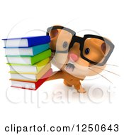 Clipart Of A 3d Bespectacled Ginger Cat Holding A Stack Of Books 2 Royalty Free Illustration