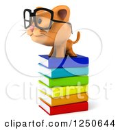 Clipart Of A 3d Bespectacled Ginger Cat On A Stack Of Books Royalty Free Illustration