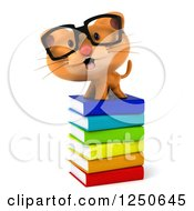 Clipart Of A 3d Bespectacled Ginger Cat On A Stack Of Books 2 Royalty Free Illustration