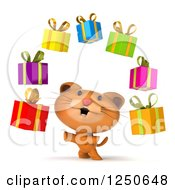 Clipart Of A 3d Ginger Cat Juggling Gifts Royalty Free Illustration