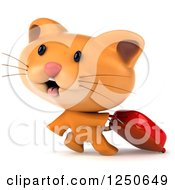 Clipart Of A 3d Ginger Cat Pulling A Rolling Suitcase Royalty Free Illustration