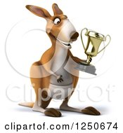 Clipart Of A 3d Champion Kangaroo Holding A Trophy Cup Royalty Free Illustration