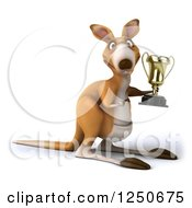Clipart Of A 3d Champion Kangaroo Holding A Trophy Cup 2 Royalty Free Illustration