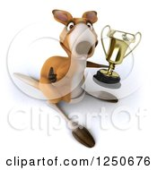 Clipart Of A 3d Champion Kangaroo Holding A Trophy Cup 3 Royalty Free Illustration
