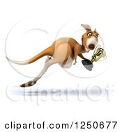 Clipart Of A 3d Champion Kangaroo Hopping With A Trophy Cup Royalty Free Illustration
