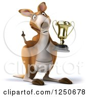 Clipart Of A 3d Champion Kangaroo Holding A Trophy Cup 4 Royalty Free Illustration