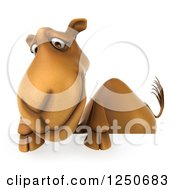 Clipart Of A 3d Camel Looking Down Over A Sign Royalty Free Illustration