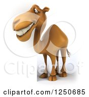 Clipart Of A 3d Camel By A Sign Royalty Free Illustration