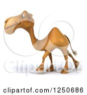Clipart Of A 3d Camel Walking Royalty Free Illustration