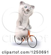 Clipart Of A 3d Polar Bear Riding A Bicycle 4 Royalty Free Illustration