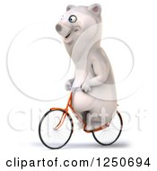 Clipart Of A 3d Polar Bear Riding A Bicycle 2 Royalty Free Illustration