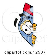 Clipart Picture Of A Blue Postal Mailbox Cartoon Character Peeking Around A Corner