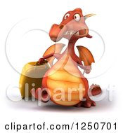 Clipart Of A 3d Red Dragon With Rolling Luggage Royalty Free Illustration