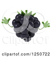 Clipart Of A 3d Blackberry Character Jumping Royalty Free Illustration by Julos