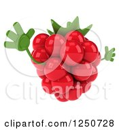 Clipart Of A 3d Raspberry Character Jumping 2 Royalty Free Illustration by Julos