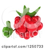 Clipart Of A 3d Raspberry Character Holding A Thumb Up Royalty Free Illustration by Julos