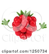 Clipart Of A 3d Raspberry Character Jumping Royalty Free Illustration by Julos