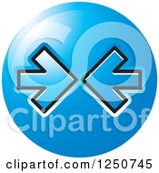 Clipart Of A Round Blue Icon With Blue Arrows Pointing At Each Other Royalty Free Vector Illustration by Lal Perera