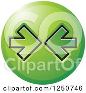 Clipart Of A Round Green Icon With Arrows Pointing At Each Other Royalty Free Vector Illustration by Lal Perera