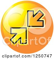 Clipart Of A Round Orange Icon With Arrows Pointing At Each Other Royalty Free Vector Illustration by Lal Perera