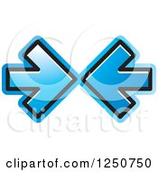 Clipart Of Two Blue Arrows Pointing At Each Other Royalty Free Vector Illustration