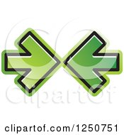 Clipart Of Two Green Arrows Pointing At Each Other Royalty Free Vector Illustration
