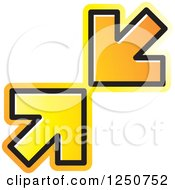 Clipart Of Two Orange Arrows Pointing At Each Other Royalty Free Vector Illustration