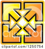 Clipart Of Four Orange Arrows Pointing Out At Corners Royalty Free Vector Illustration by Lal Perera