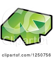 Clipart Of A 3d Green And Black Arrow Pointing Up And Slightly Left Royalty Free Vector Illustration by Lal Perera