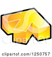 Clipart Of A 3d Golden And Black Arrow Pointing Up And Slightly Right Royalty Free Vector Illustration by Lal Perera