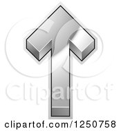 Clipart Of A 3d Silver Arrow Pointing Up Royalty Free Vector Illustration by Lal Perera