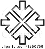 Clipart Of Four Black And White Arrows Pointing At The Same Spot Royalty Free Vector Illustration by Lal Perera