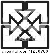 Clipart Of Four Black And White Arrows Pointing Out At Corners Royalty Free Vector Illustration by Lal Perera