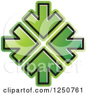 Clipart Of Four Green Arrows Pointing At The Same Spot Royalty Free Vector Illustration by Lal Perera