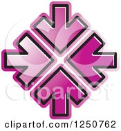 Clipart Of Four Purple Arrows Pointing At The Same Spot Royalty Free Vector Illustration by Lal Perera
