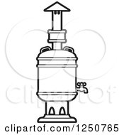 Clipart Of A Black And White Tea Boiler Royalty Free Vector Illustration by Lal Perera
