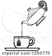 Poster, Art Print Of Black And White Tea Pot Pouring Into A Cup