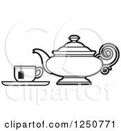 Clipart Of A Black And White Tea Pot And Cup Royalty Free Vector Illustration by Lal Perera