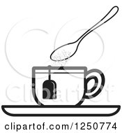 Poster, Art Print Of Black And White Spoon Dropping Sugar Into A Tea Cup