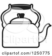 Clipart Of A Black And White Tea Kettle Royalty Free Vector Illustration by Lal Perera