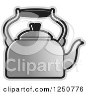 Clipart Of A Silver Tea Kettle Royalty Free Vector Illustration by Lal Perera
