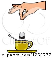 Clipart Of A Hand Dipping A Tea Bag Into A Gold Cup Royalty Free Vector Illustration by Lal Perera