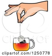 Clipart Of A Hand Dipping A Tea Bag Into A Glass Cup Royalty Free Vector Illustration