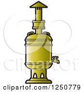 Clipart Of A Gold Tea Boiler Royalty Free Vector Illustration by Lal Perera