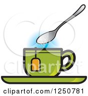 Clipart Of A Spoon Dropping Sugar Into A Green Tea Cup Royalty Free Vector Illustration by Lal Perera