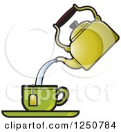 Clipart Of A Tea Pot Pouring Into A Green Cup Royalty Free Vector Illustration by Lal Perera